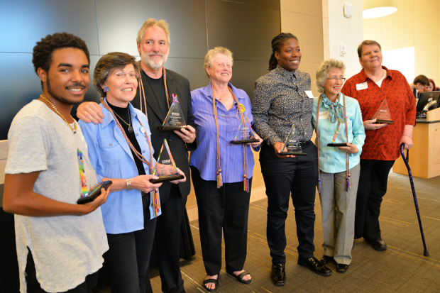 Lucky Turner poses with fellow 2016 LGBT Burnside Watstein Award recipients. From left: Lucky Turner, Brenda Kriegel, Walter Foery, Frances Stewart, Attalah Shabazz, Sharon Talarico and Jane Firer. Turner was the only student to receive the award this year.