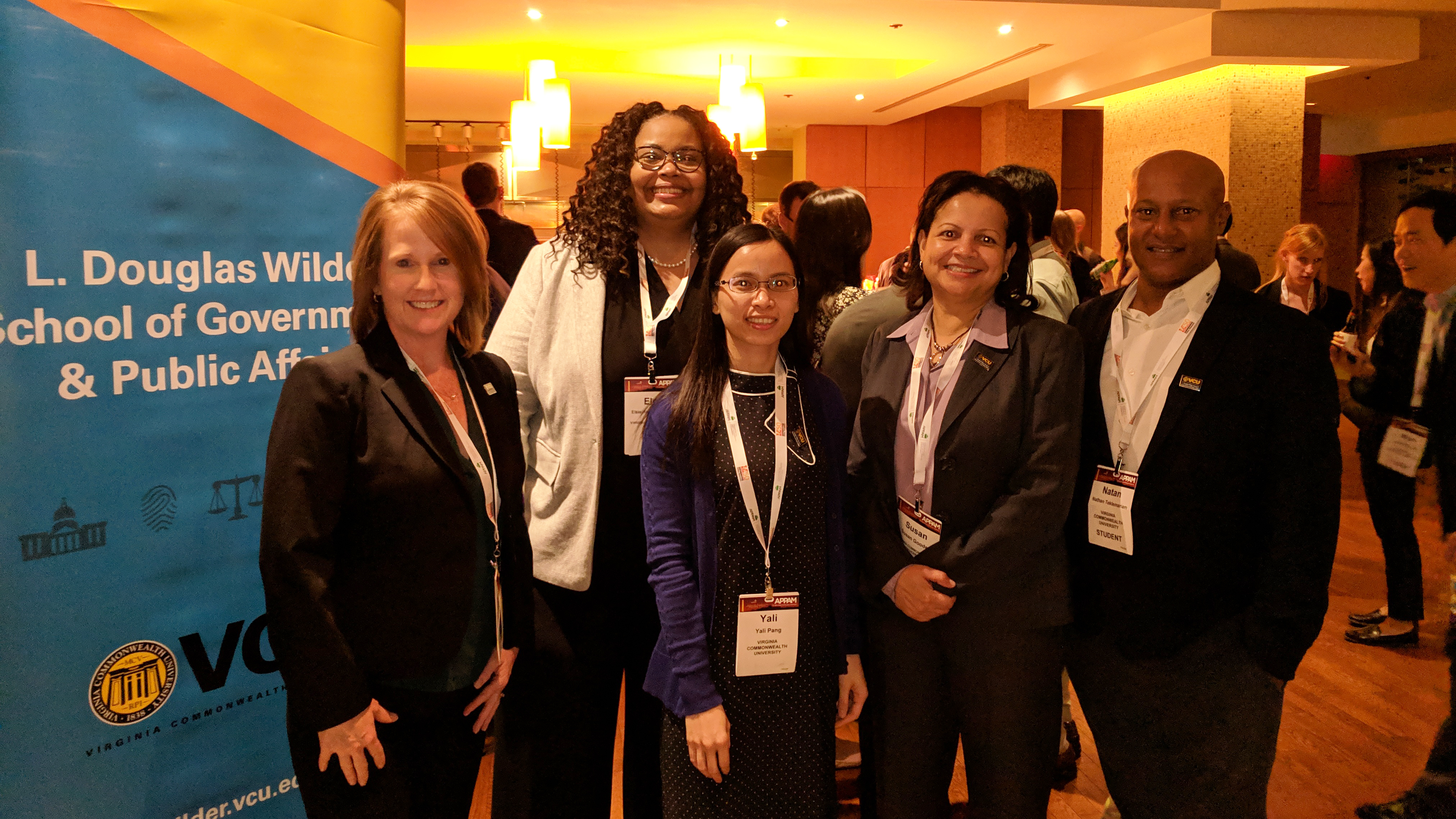 Wilder School delegation members at the APPAM Student Mixer on Nov. 9. From left to right: Jill Gordon, Ph.D., Elsie Harper-Anderson, Ph.D., Yali Pang, Susan Gooden, Ph.D., and Nathan Teklemariam.