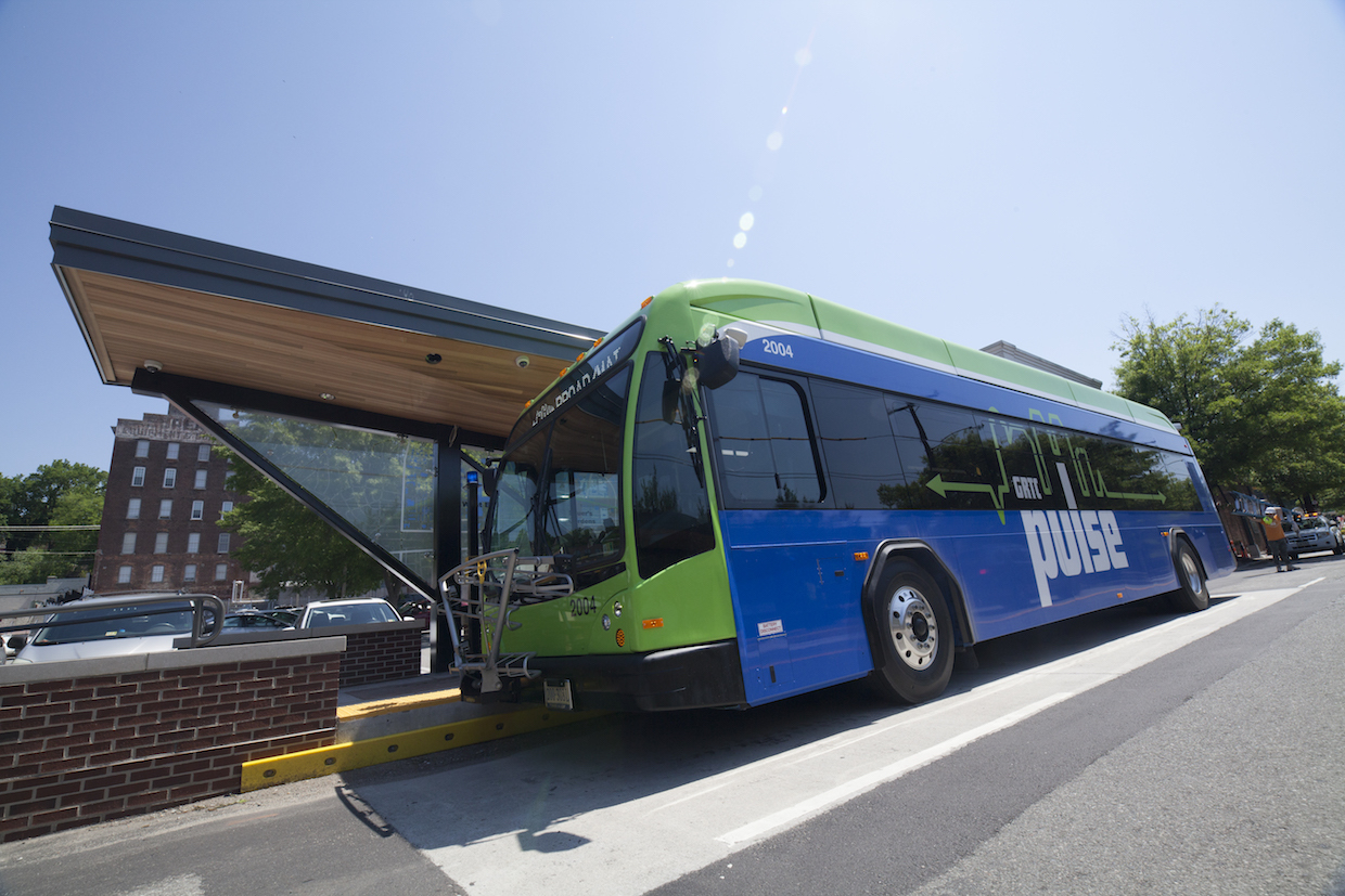 GRTC Pulse bus rolling through downtown Richmond.