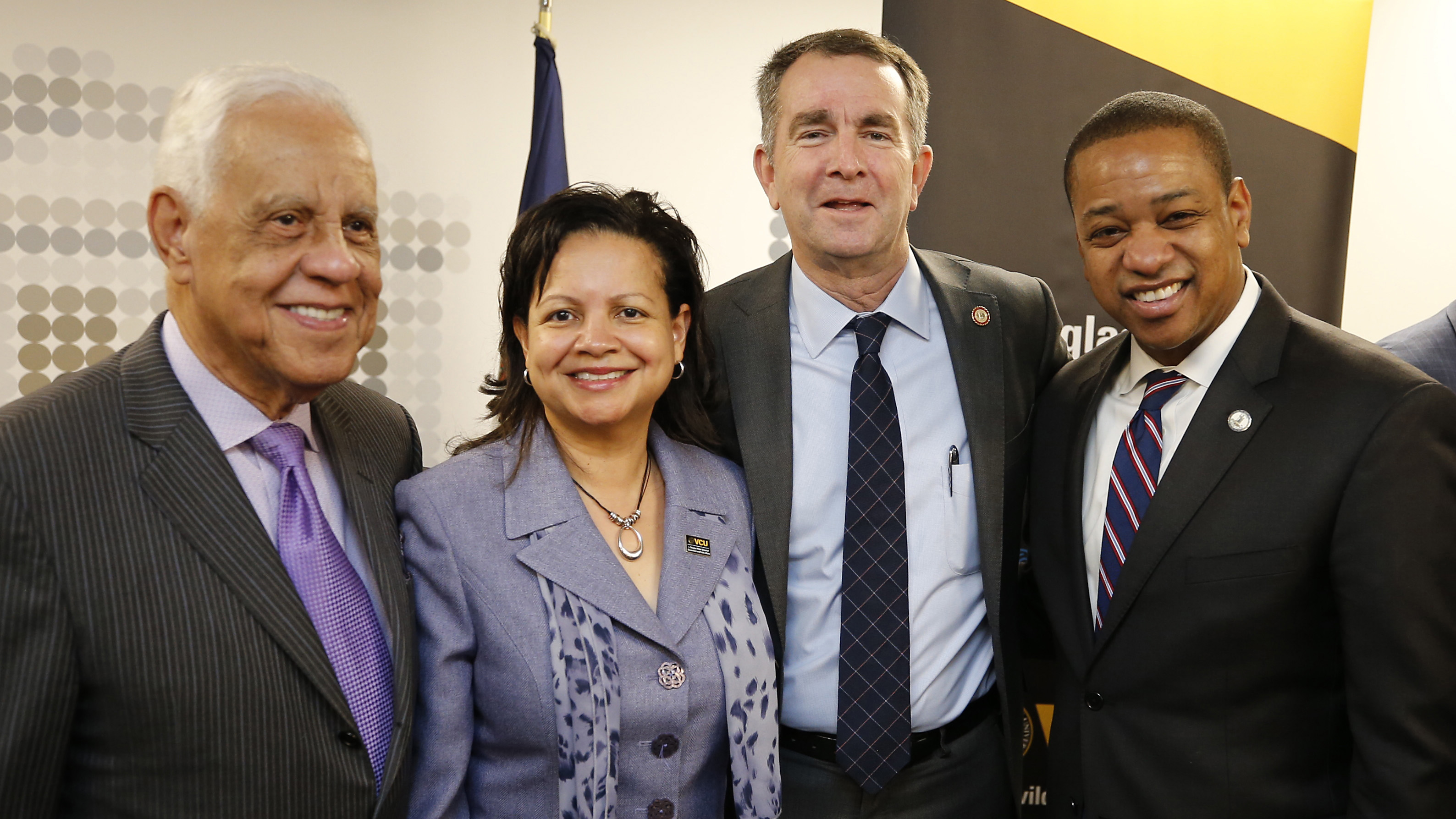 Top: L. Douglas Wilder, Virginia's 66th governor; Interim Dean Susan Gooden, Ph.D.; Governor Ralph Northam; and Lt. Gov. Justin Fairfax. Second: Secretary of Commerce and Trade Brian Ball; Gov.  Northam; Lt. Gov. Fairfax; and Secretary of Education Atif Qarni. Below: Gov. Wilder, Dr. Gooden and Gov. Northam listen to VCU Provost Gail Hackett's welcoming remarks.